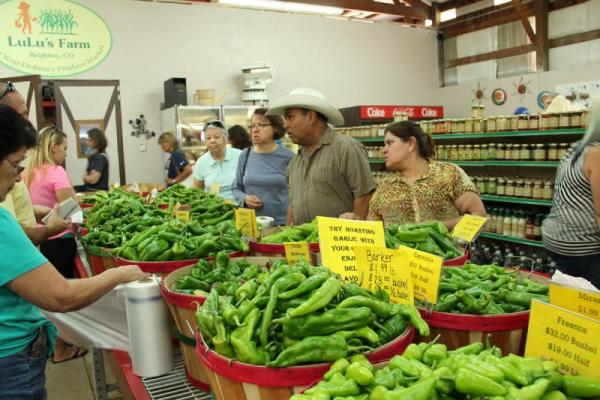 At the Denver Green Chile Festival, customers examine a wide variety of chiles, and place orders to have them roasted on site