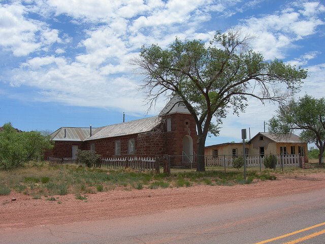 "Cuervo is an old Route 66 town that today is basically a ghost town. The original site can be seen across I 40 on old Route 66. This is the old Catholic church. The hand carved cornerstone above the door says it was ""build by Max Salas in Abril 1915"". Photo: Jimmy Emerson"