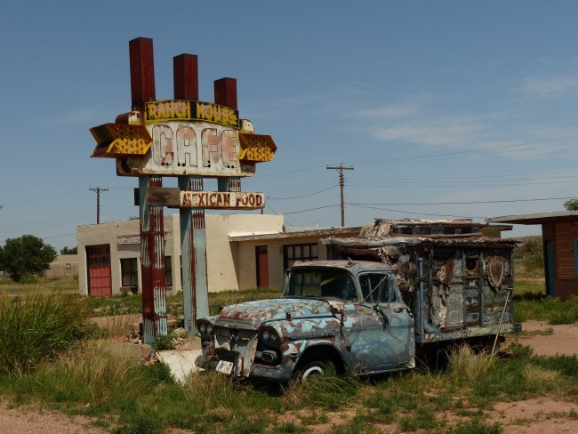 The Old Ranch House Cafe Sign and Old Truck