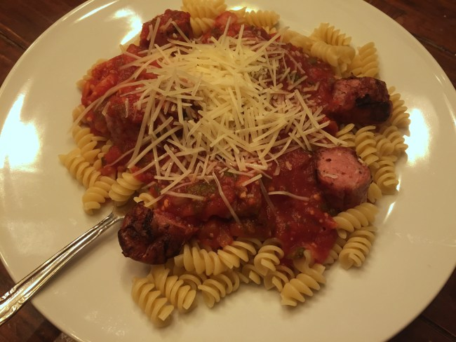 New Mexico Red Chile Marinara on Rotini with Hot Sausage / ©2018 I am New Mexico