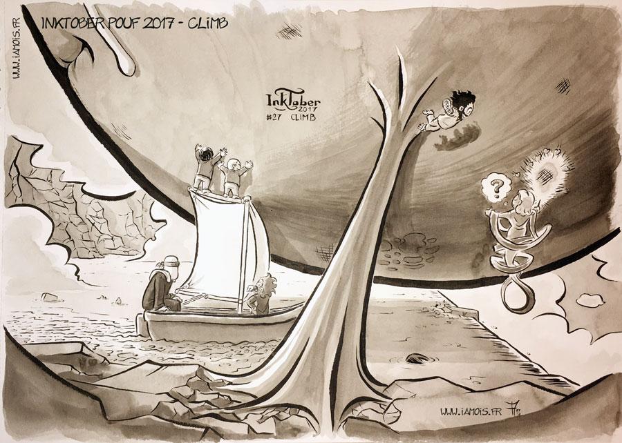 Inktober Pouf 2017 #27 Climb - auteur : iamo'i's