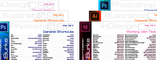 Shortcut Cheatsheets for Adobe Illustrator, InDesign, and Photoshop