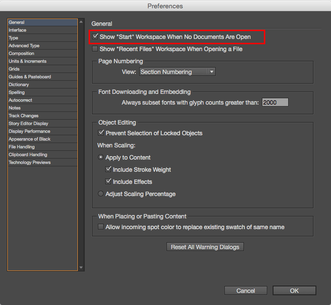 Figure 4: Disabling the Start workspace in Adobe InDesign CC.