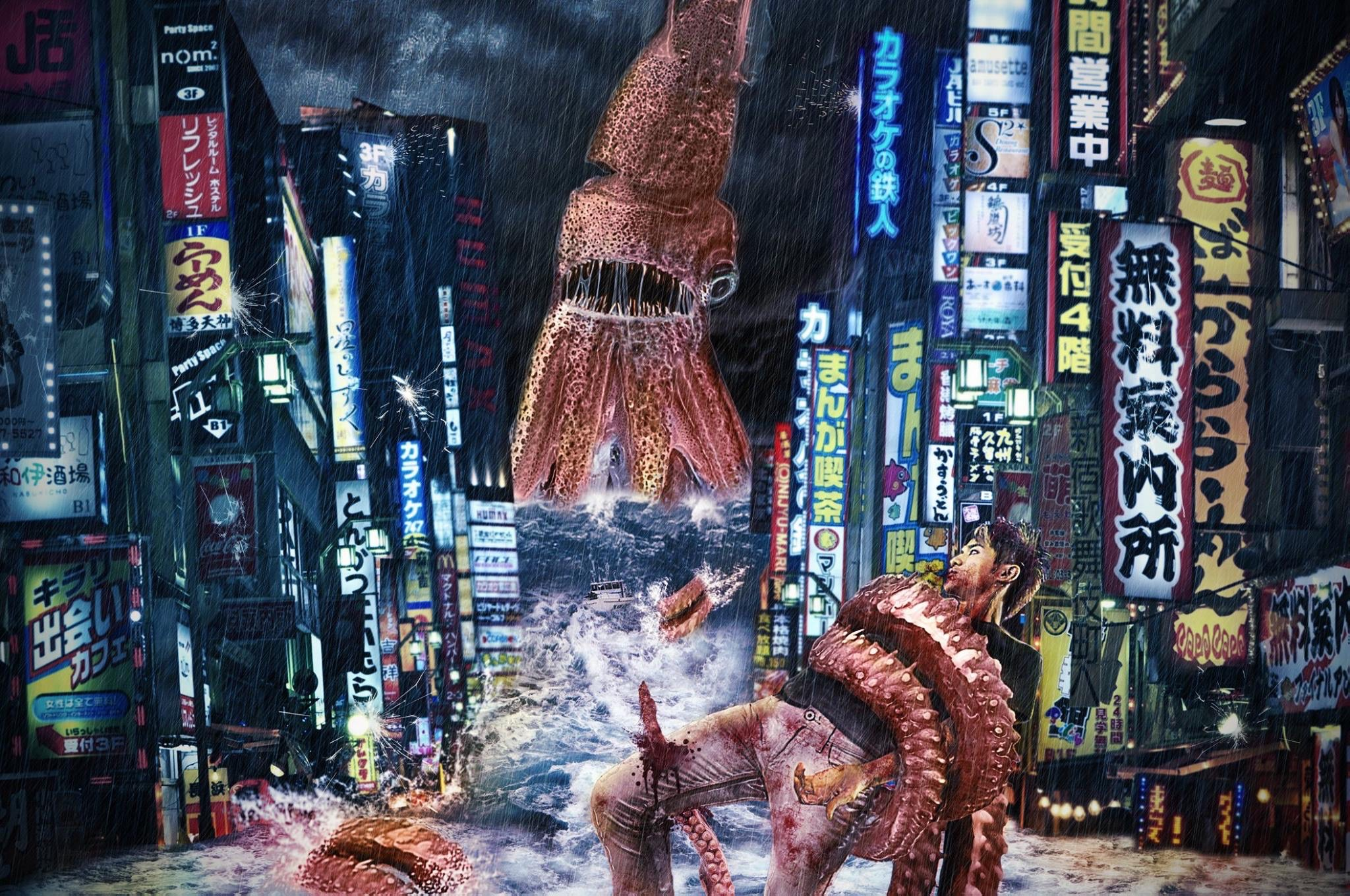 Hong Kong Squid Photo Manipulation