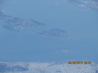 Angel Island (center) and Alcatraz, the tiny island seen abve the date.