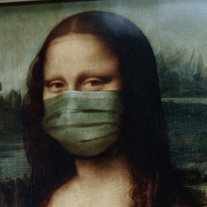 Mona Lisa wearing a mask post-pandemic