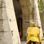yellow vespa in Biel old town