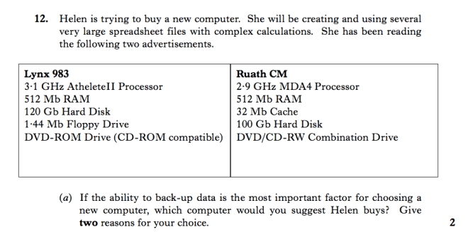 Higher Specimen Question 2 2005