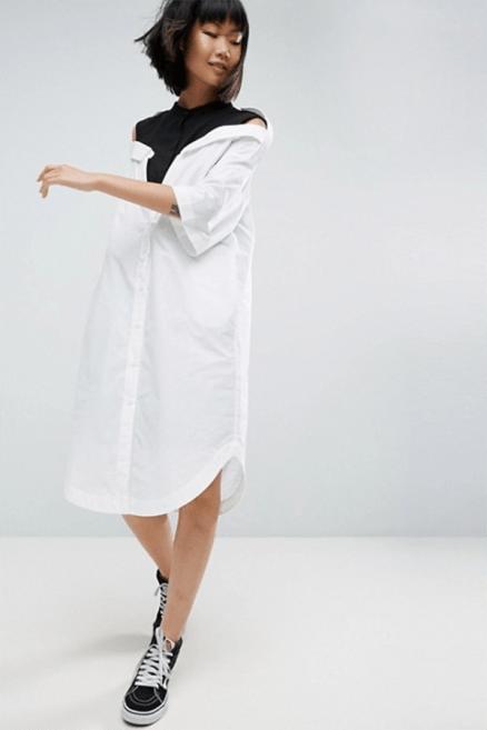 ASOS WHITE Drop Shoulder Shirt Dress £75 → £52.5