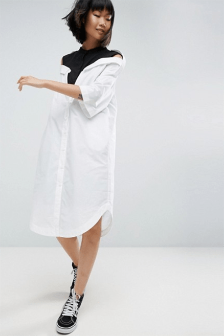 ASOS WHITE Drop Shoulder Shirt Dress £75 → £52.5