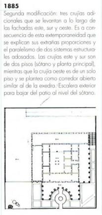 Planta de 1885 que contempló modificaciones con la construcción de crujías adicionales en el entorno de las fachadas, y la construcción de dos niveles a partir de las nuevas crujías. Jardines adicionales. (Tomado de la revista Memoriales 1, pág. 41., ver ref.)