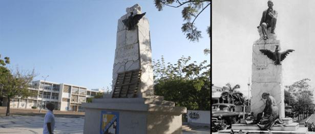 Robo de la escultura de Udón Pérez en Maracaibo. Foto Panorama.