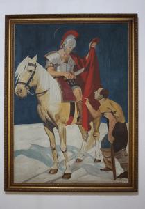 Pintura al óleo con imagen de San Martín de Tours, elaborado por el párroco benedictino Otto Hoffsteter en 1938 y representa al santo en su conocido acto de caridad. Foto José Luis Rosales, Diciembre 2016.