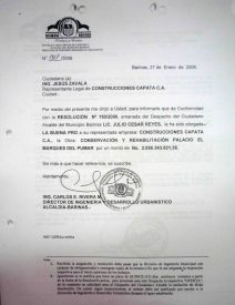 Buena pro para la empresa CAPATA.CA. Digitalización Marinela Araque, año 2010.