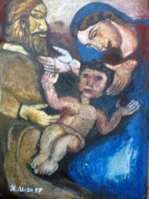 El pesebre. Obra ganadora del Premio Nacional de Pintura realizada en el Festival del Pesebre, Coro. 1997. Foto Marinela A.