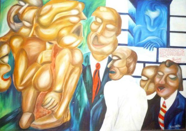 """""""Los políticos corruptos"""", óleo de Henry Alizo de 1993. Foto. Marinela Araque (1)"""