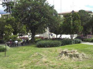Jardín de la plaza Bolívar de Mérida, patrimonio histórico nacional de Venezuela.