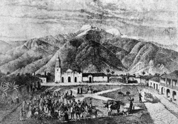 Mercado en la plaza Bolívar de Mérida, Venezuela, a mediados de 1869. Dibujo de Antón Goering.
