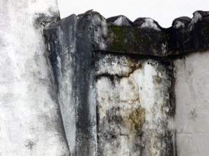 Paredes humedecidas de la iglesia San Nicolás de Bari, de Obispos. Barinas.