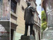 Oxidación y daños vandálicos en la escultura de Carraciolo Parra y Olmedo, año 2017. Patrimonio cultural de Mérida, estado Mérida, Venezuela.
