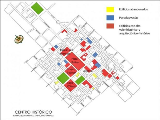 Plano del centro histórico de Barinas. Estado Barinas, Venezuela.
