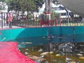 Plaza Bolívar de Valera. Se observa el estado de la fuente. Alerta Patrimonio cultural de Venezuela