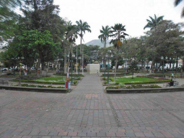 Vista general de la plaza Bolívar de Rubio. Estado Táchira, Venezuela.