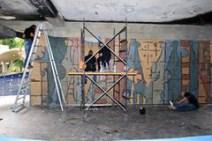Restauración del mural de Oswaldo Vigas, en la planta baja del rectorado. Ciudad Universitaria de Caracas. Patrimonio Mundial de Venezuela.