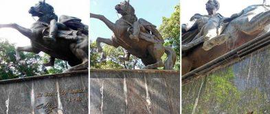 Los 4 escudos, las frases, la espada y los estribos de bronce se han llevado del monumento al Libertador en su plaza de San Antonio del Táchira.