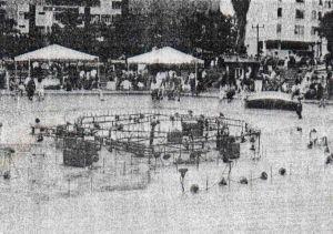 La fuente de plaza Las Heroínas de Mérida, en 1993, se aprecia el abandono. Patrimonio cultural de Venezuela.