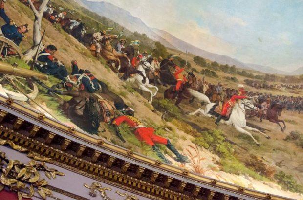 Fragmento de la obra Batalla de Carabobo, Martín Tovar y Tovar 1877. Patrimonio histórico nacional de Venezuela en peligro.