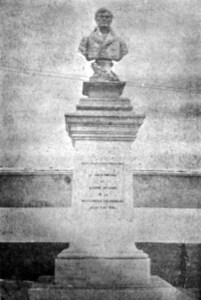 Monumento de Francisco de Miranda en 1930. Foto Centenarios de Sucre y Bolívar en Mérida (Reseña de grabados alusivos). Patrimonio histórico de Mérida, Venezuela.