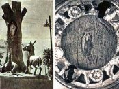 Monumento a la Virgen de la Corteza y reliquias, la original y la réplica. Fotos Revista Tricolor y Wilfredo Bolívar.