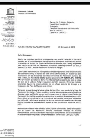 Unesco asesorará a Venezuela para sacar a Coro La Vela de la lista del Patrimonio Mundial en Peligro. Patrimonio cultural de Venezuela.