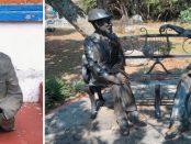 La conversación, grupo escultórico mutilado por ladrones de bronce. Mérida, Venezuela. Patrimonio cultural de Venezuela en peligro.