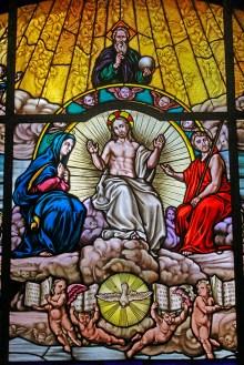 Uno de los vitrales restaurados por Fernando de Tovar, en la Catedral de Valencia. Foto Orlando Nano Baquero, agosto 2018.