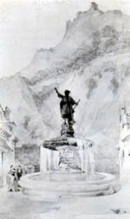 El cronista de Carúpano pide referéndum sobre la escultura de Colón. Boceto del proyecto ganador del concurso, 1893. Foto en el blog Carúpano360