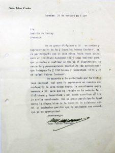 Carta de Adán Febres Cordero autorizando al Instituto Autónomo Biblioteca Nacional para el diagnóstico e inventario de las colecciones. Foto colección Biblioteca Febres Cordero.
