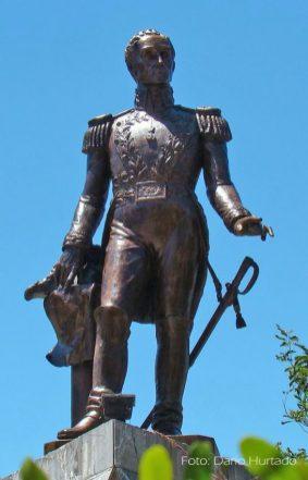 Estatua de El Libertador, Plaza Bolívar de Lobatera. Foto Darío Hurtado, 2013.