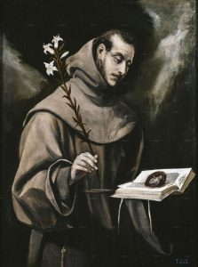 San Antonio de Padua (c. 1580), obra de El Greco que muestra buena parte de la iconografía con que se identifica al santo. Museo del Prado.