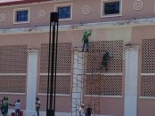 Vista de parte de la fachada donde aplicaron el color de tono salmón. Foto Alfredo Morales, diciembre 2018.