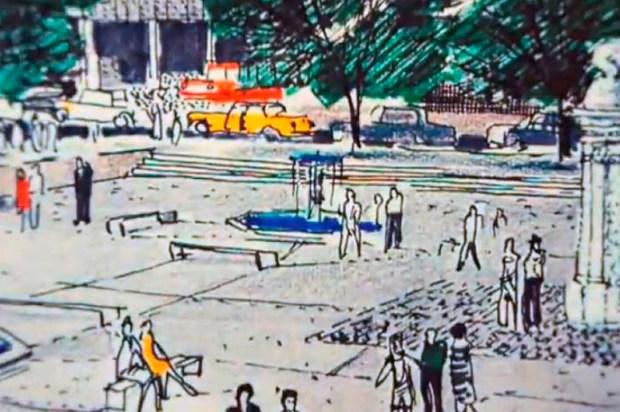 Dibujo de Tomás José Sanabria, para quien la arquitectura era un servicio social. Foto colección Sanabria_Fotograma del video 4 miradas Tomas Sanabria.