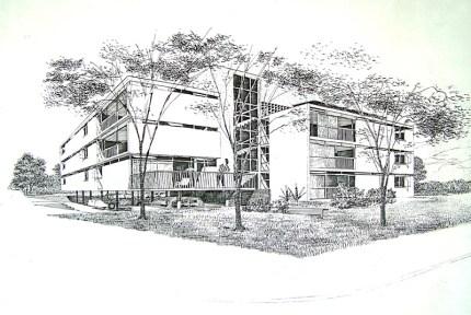 Dibujo del edificio San Carlos, hecho por el Arq. Tomás José Sanabria. Colección Sanabria_ Redfundamentos