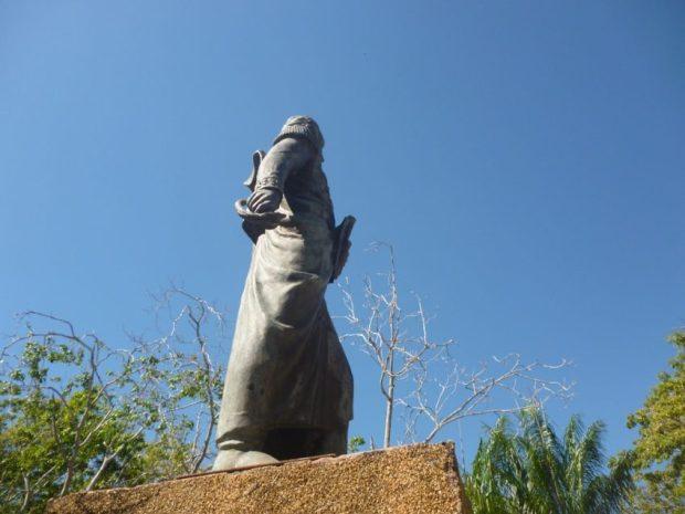 Robo de la espada de la escultura de Bolívar de Ciudad de Nutrias, en Barinas. Foto Marinela Araque, enero 2019.