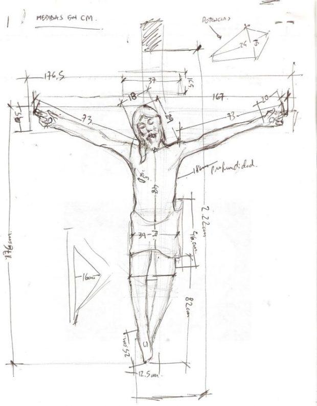 Boceto de medidas del Santo Cristo de La Grita. Dibujo a mano alzada, Lcdo. Miguel Ángel Márquez, 2013.