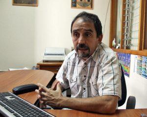 El antropólogo Lino Meneses durante la entrevista para IAM Venezuela. Museo Arqueológico de Mérida. Foto Samuel Hurtado Camargo, febrero 8 de 2019