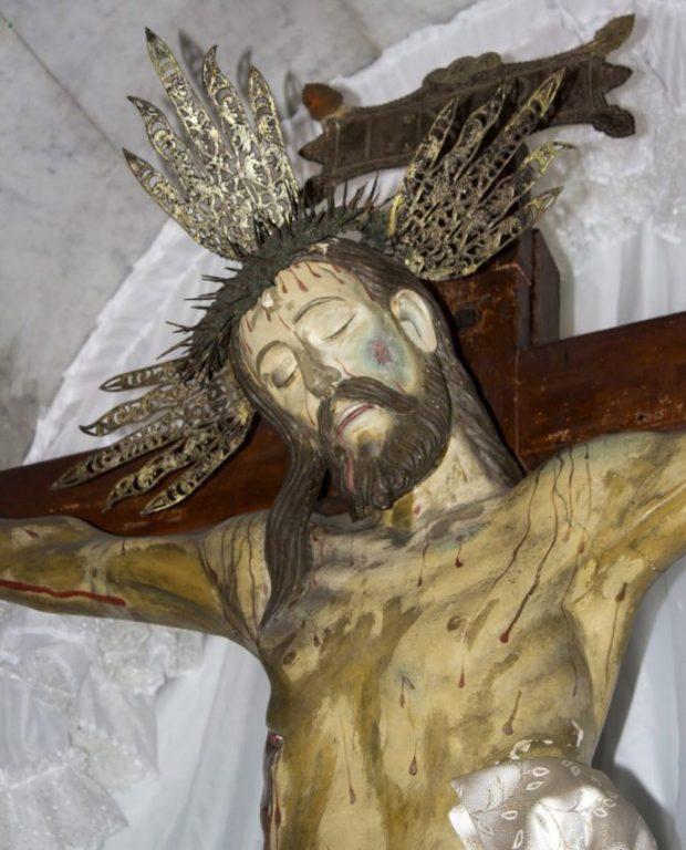 Sección frontal superior izquierda (derecha del observador) del Santo Cristo de La Grita. Foto Abel Gerardo Rodríguez, TRT, 2013.