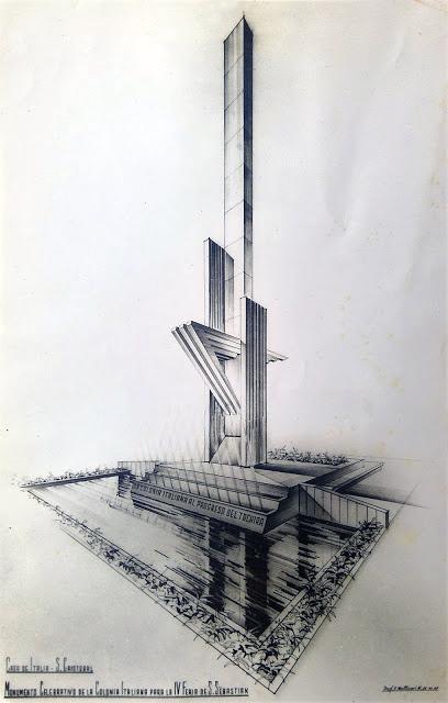 Boceto original, con la idea del monumento conmemorativo para la ciudad de San Cristóbal, presentado por el arquitecto Fernando Matticari a la Casa de Itali
