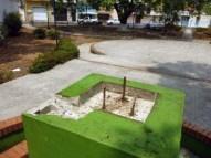 Pedestal sin el busto de Francisco de Miranda, robado entre el 7 y el 11 de marzo, durante el apagón nacional. Barinas. Foto Marinela Araque, marzo 2019