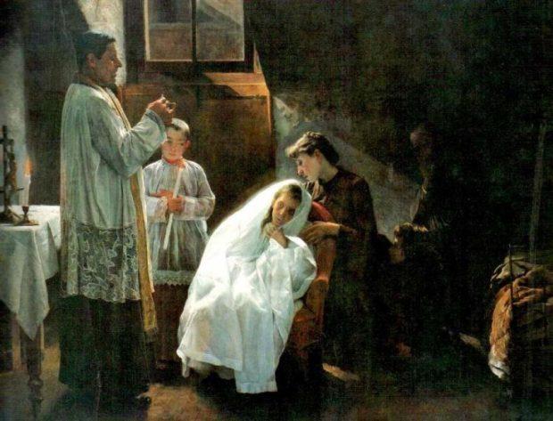 Primera y última comunión (1888), obra de Cristóbal Rojas en la colección de Galería de Arte Nacional, Caracas. copia